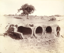 Remains of the supply sluice of the old tank at Dhenuj, Gujarat